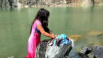 The girl of the village was washing clothes, then she went to her forcibly. his mms video lick 12 min