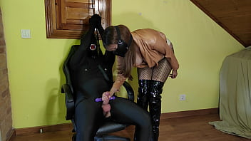 Cruel Leather Mistress Teases, Edges & Denies Tied Up Slave With Vibrator