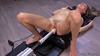 Big tits brunette solo rides machine