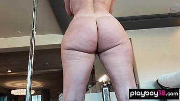 Big booty MILF pornstar Sophie Dee doing her daily workout and caressing her pussy