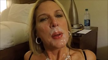 Mature all over Matur wife sucking big cock of her husband nad getting cumshot all over her cute face