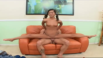 CARAMEL SKINNED LATINA GETS RAMMED BY A TALL PORN ACTOR