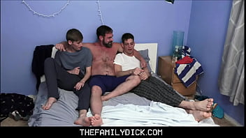 Bear Stepdad Kristofer Weston Teaching Threesome His Stepson Boys Oliver Star & Michael Del Ray