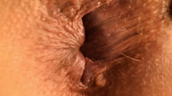 Oiled up and playing with my girlfriend hole ass - close up anal