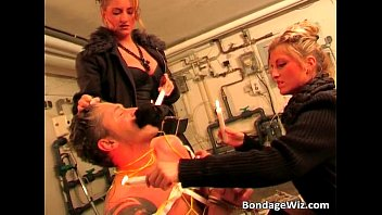 Brutal bondage action with two sexy