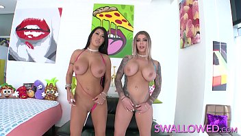 SWALLOWED Big tit babes August and Karma double blowjob