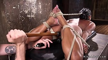 Curved slave with big boobs tormented