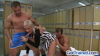 Sexy blonde ref fucked in locker room