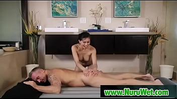 Asian masseuse gives nuru massage in jacuzzi - Marcus London, Ember Snow