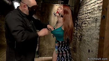 Gagged redhead pussy toyed on hogtie