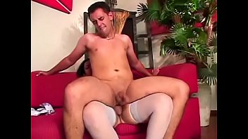 Horny tranny in white stockings fucks twink in the ass and swallows his cum