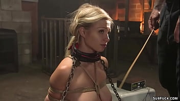 Bound blonde sub in lingerie whipped
