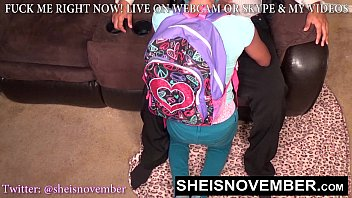 BlackSchoolGirl Must Give Step Dad Head For Bad Grades, Innocent Step Daughter Msnovember Suking Daddy Dick POVblowjob On Sheisnovember