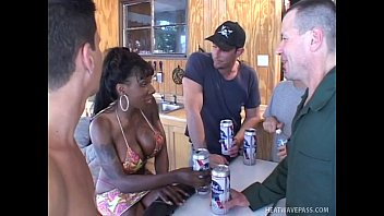 Redneck black slut Busty kelly star gets anal gangbanged by four massive redneck cocks
