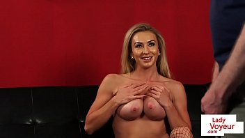 Bigtits naked femdom instructs tugging guy