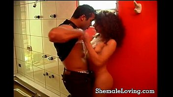 Shemale gets destroyed in the bathroom