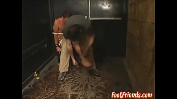 Young deviant ties up gay man for oiled up rough tickles
