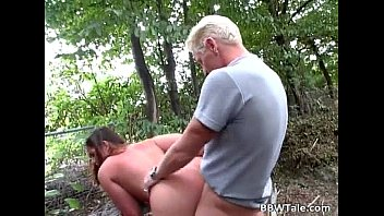Chubby blond babe with nice tits takes