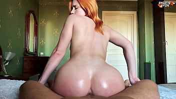 Girl with Oiled Big Ass Deepthroat, Riding On Dick and Cum Swallow – Sweetiefox