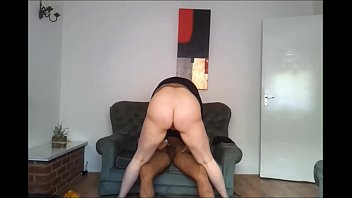 IMWF - White chubby jumping on her brown cock after getting horny