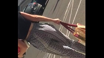 Candid teen jiggly ass in pattern pants