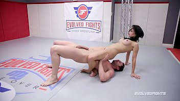 Busty Crystal Rush naked wrestling battle forced to suck cock