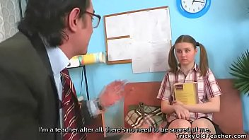 Shy girl came to her teacher for help, but he turned out to be a pervy old man. Young girl was persuaded to suck teacher's dick