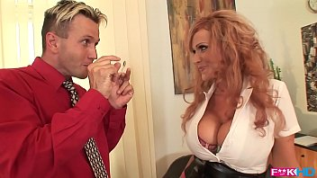 Hot and horny secretary Sharon Pink serves up her big tits and pussy to her boss