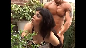 Brazilian hot milf fucked in a garden