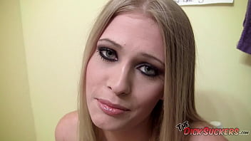 Barely Legal Allie James has big, all-natural titties and can suck dick like a champ -- just look at that load all over her face!!!