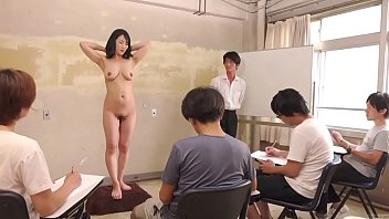 Sketching nude female with charcoal Subtitled cmnf enf shy japanese milf nude art class in hd