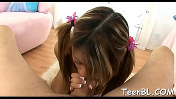 Marvelous teen is seducing hunk with her lusty pecker engulfing