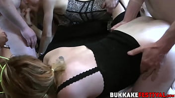 Gangbang whores - Gangbang party whores fucked and fed with lots of cocks