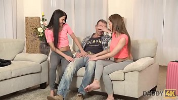 DADDY4K. Tender creatures meet attractive man at their moms house