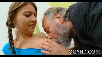 Young active hotty blows old one-eyed monster