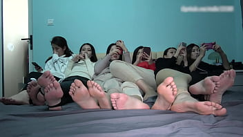 Six cute girls take off shoes show they feet and soles