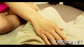 Alluring teen gives steamy hand and foot work to unbending pole