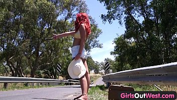 Girls Out West - Lesbian Aussie hitchhiker licked outdoors 6 min