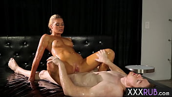Cute blonde babe with nice ass Abby Cross massage and rode a clients big cock