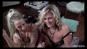 MILFs in hot lingerie sharing big dicks in exclusive swinger 4some