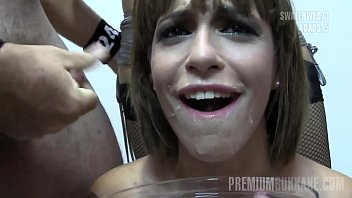 Premium Bukkake - Silvana swallows 65 huge mouthful cumshots