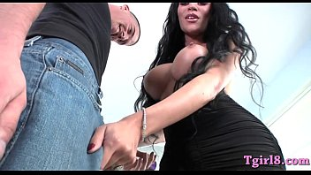 Shemale with big boobs gets ass pounded hard and deep