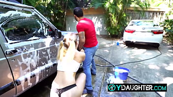 Daddy's friend is seduced by horny daughter as he's washing the car