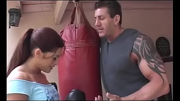 Great hulk of a man tries to return future-oriented busty female athlete Aria to regular training activity with professional stuff in the gym