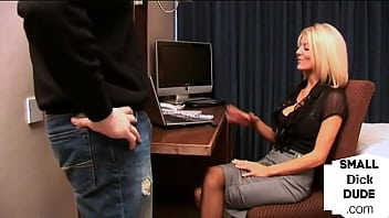 Office femdom humiliates small dick while giving handjob