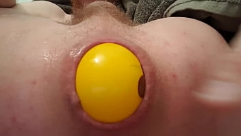 Gay inserts I play with a 3 inch yellow ball in my ass...