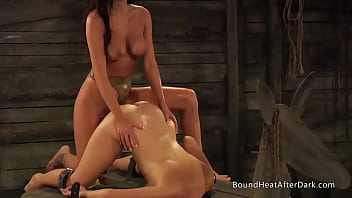 Bound Lesbian Slave Takes Strapon Doggystyle And Orgasms