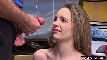 Teen shoplifter chick pays with a sloppy blowjob
