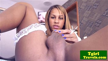 Latina tranny stroking her thick cock