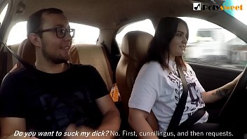 Girl jerks off a guy and masturbates herself while driving in public (talk)